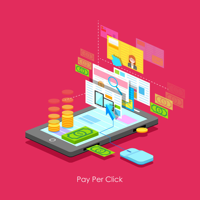 26568409 - illustration of pay per click concept in flat style