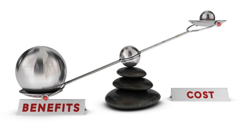 Benefits and cost of website management on a balance scale