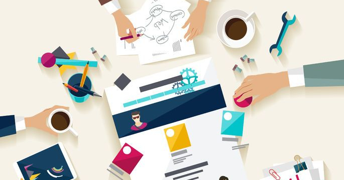 hands doing website management service and web creation - flat design