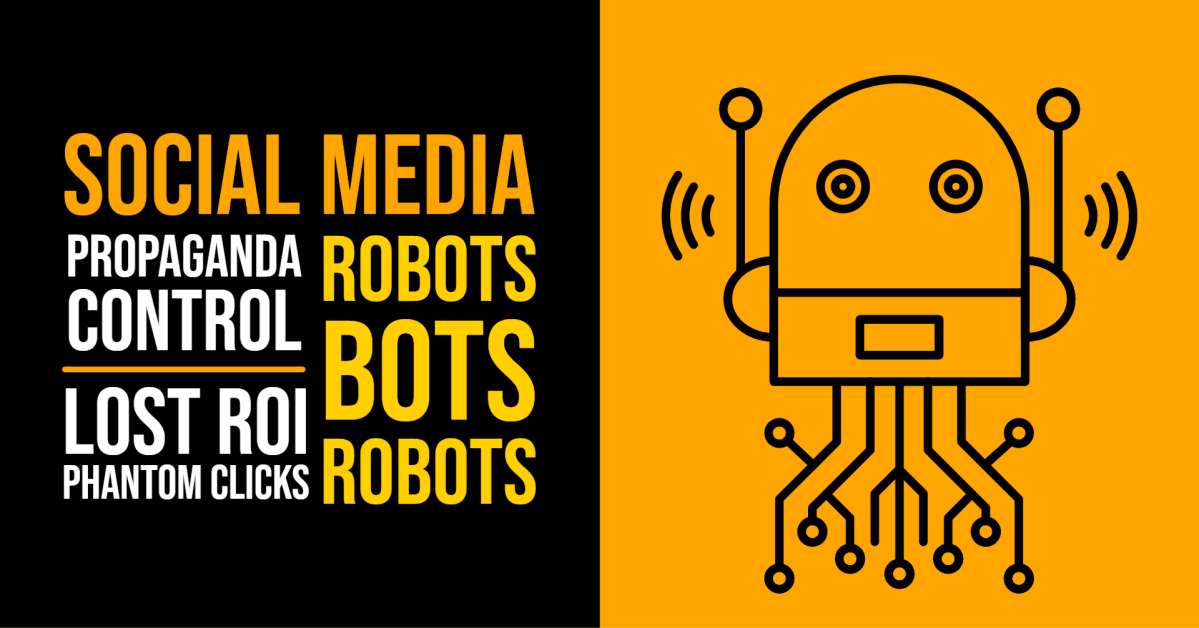 a graphic of robots with social media text